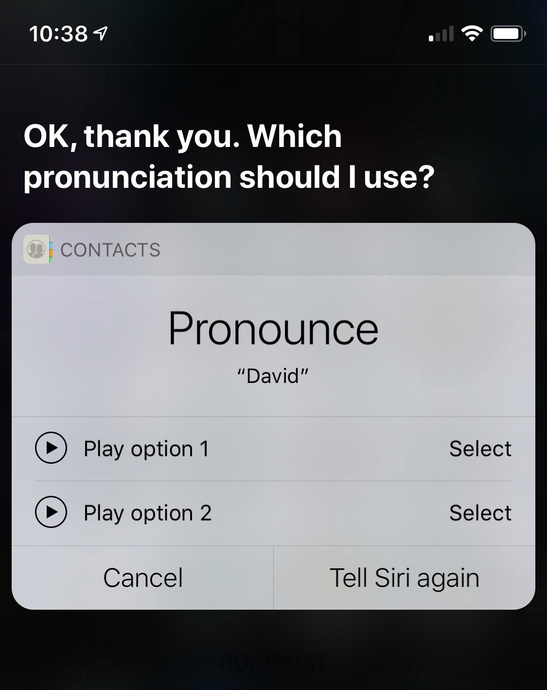 correct siri mispronunciation