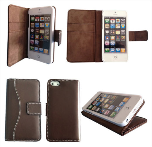 Lambskin Leather Case Brown for iPhone 5