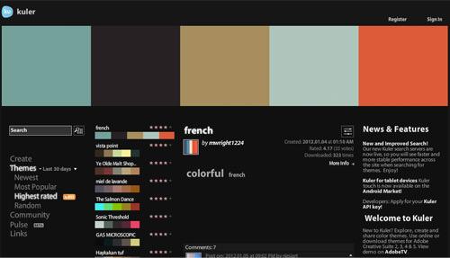 Adobe Kuler online app homepage