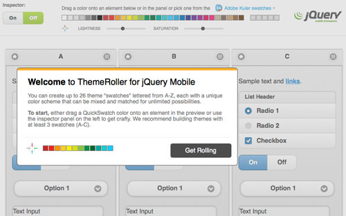 jQuery ThemeRoller online intro dialog