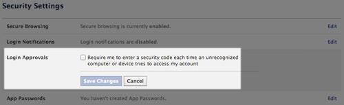 Activate login approvals
