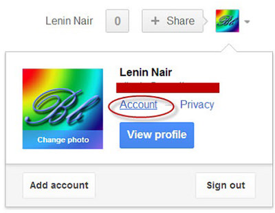 google plus account setting