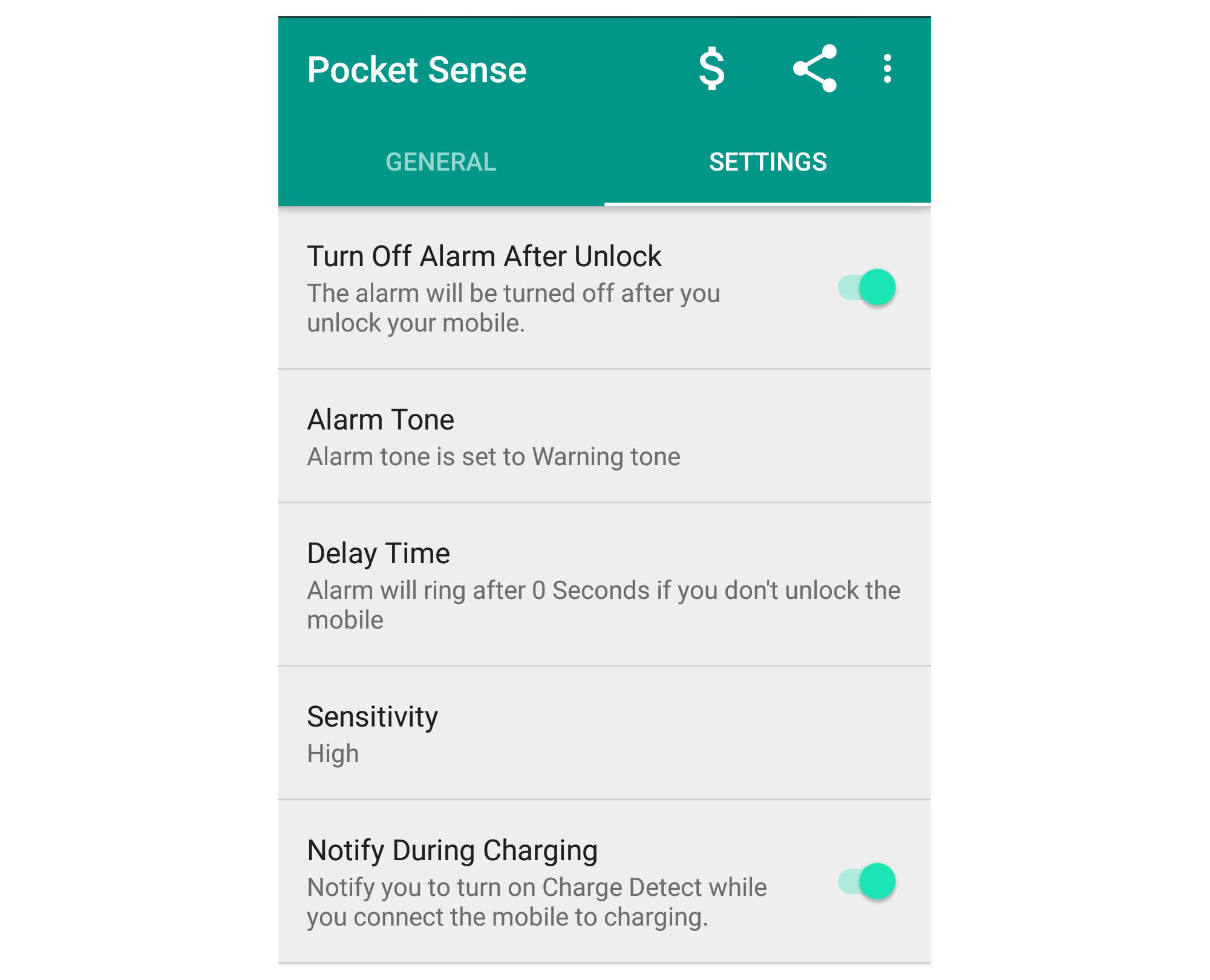 pocket sense alarm