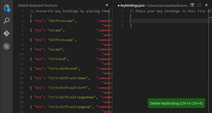 Visual Studio Code Custom Key Bindings