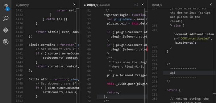 Visual Studio Code Editor Panes
