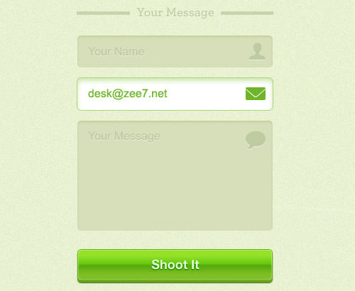 Green e-mail contact form PSD