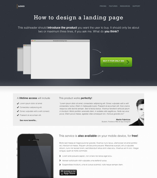 freebie web design landing page