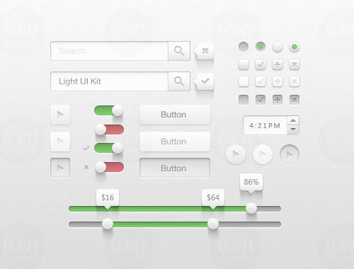 Light UI kit buttons freebie PSD