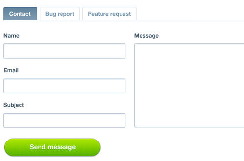 Tabbed contact form PSD