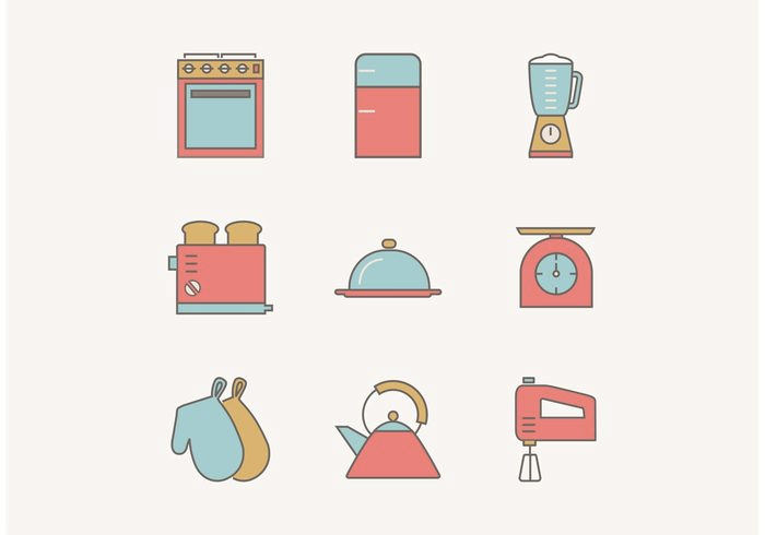 flat-outline-vintage-kitchen
