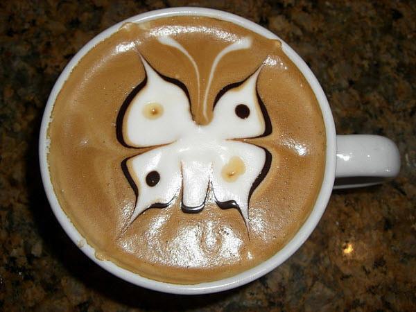 latte art butterfly