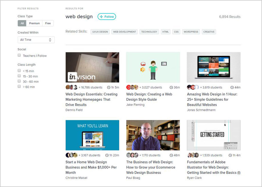 Web design classes on Skillshare