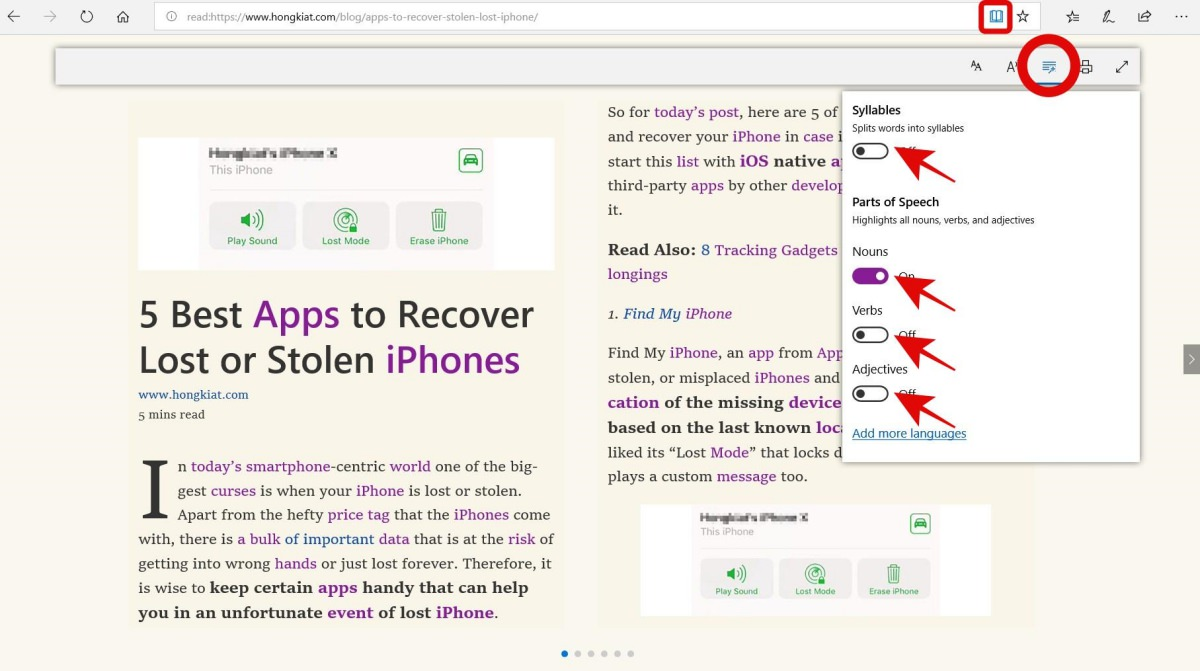 Check tools in Reading View