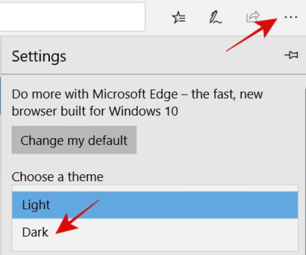 Choose the dark/black theme in Edge