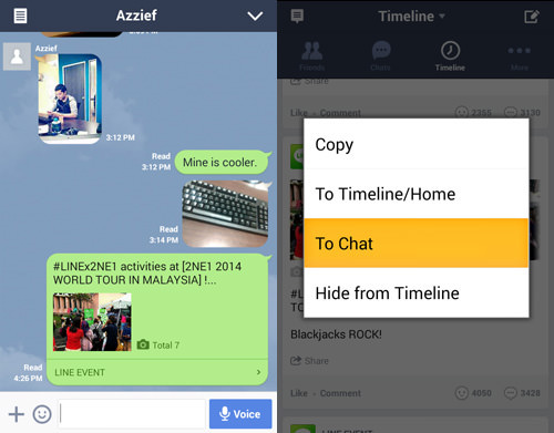 Share Timeline Updates In Chat