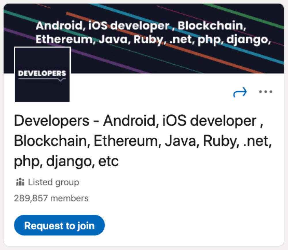 Developers - Android, iOS developer , Blockchain, Ethereum, Java, Ruby, .net, php, django, etc LinkedIn Group for designers and developers
