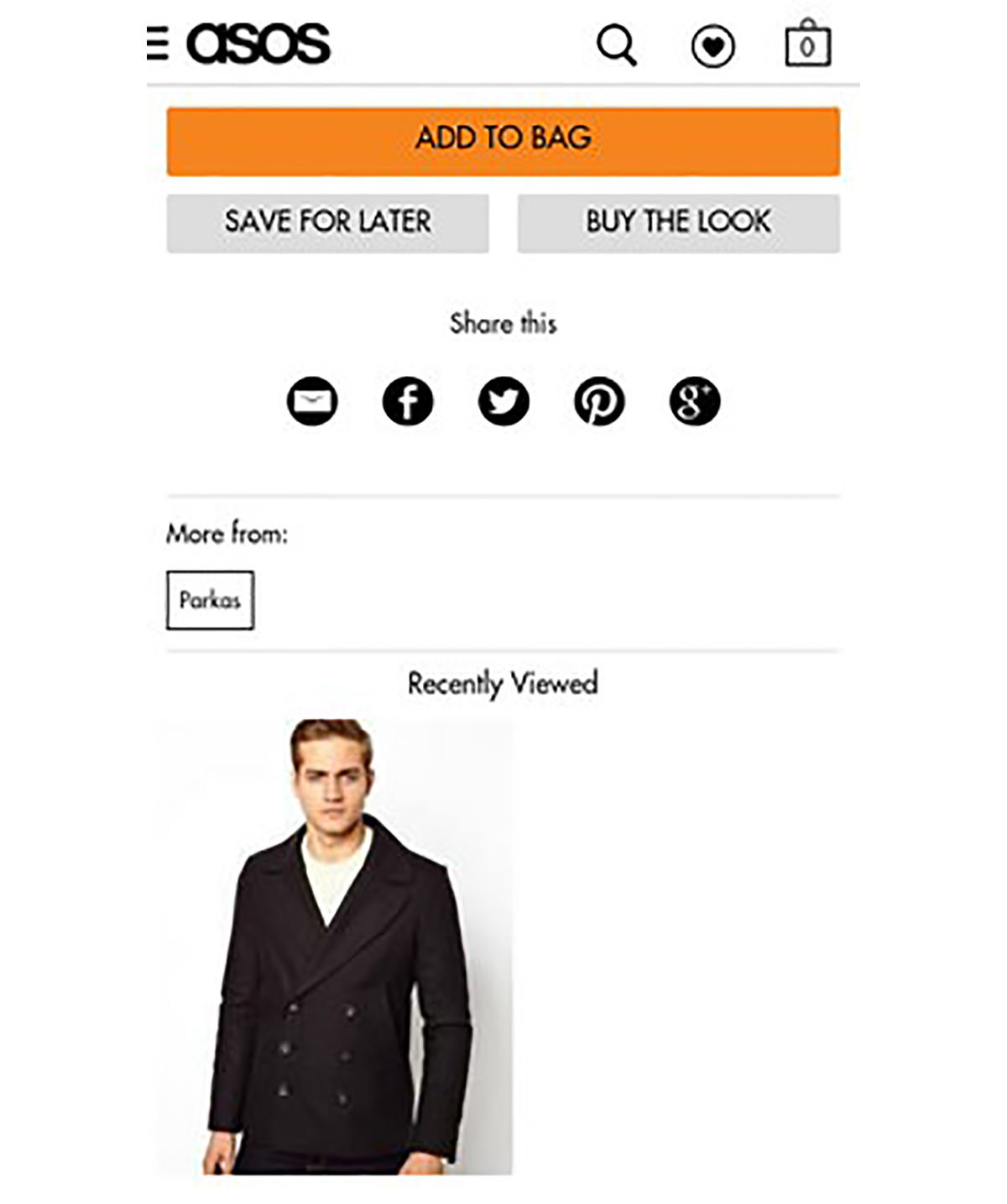 asos recently viewed items page