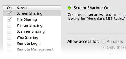 sharing setting