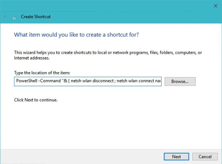 Create shortcut to run PowerShell command