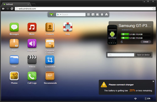 AirDroid Web Home