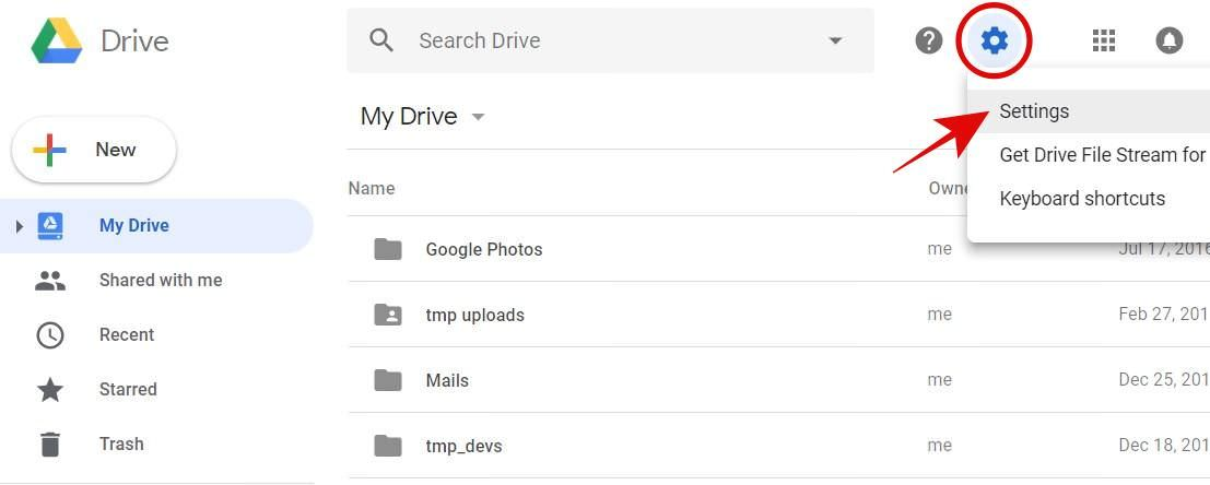 Open Settings in Google Drive