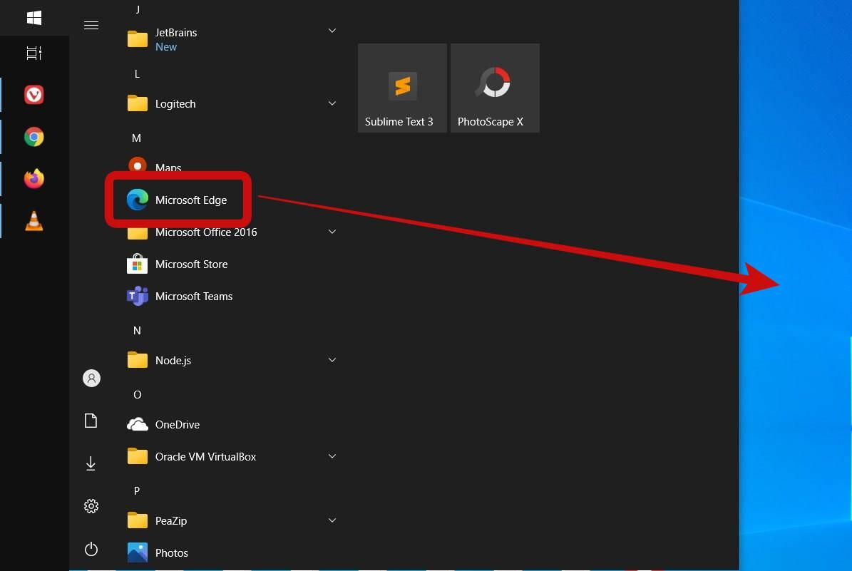 Drag and drop Microsoft Edge to the desktop