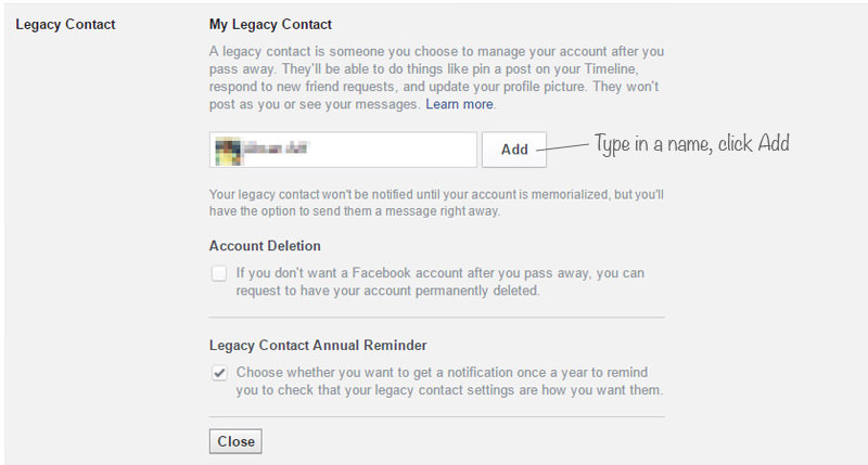 Adding Legacy Contact