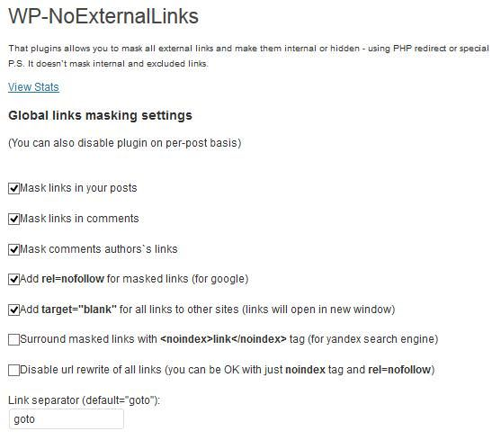 Settings of WP No External Links