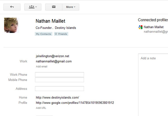Example Google contacts profile page