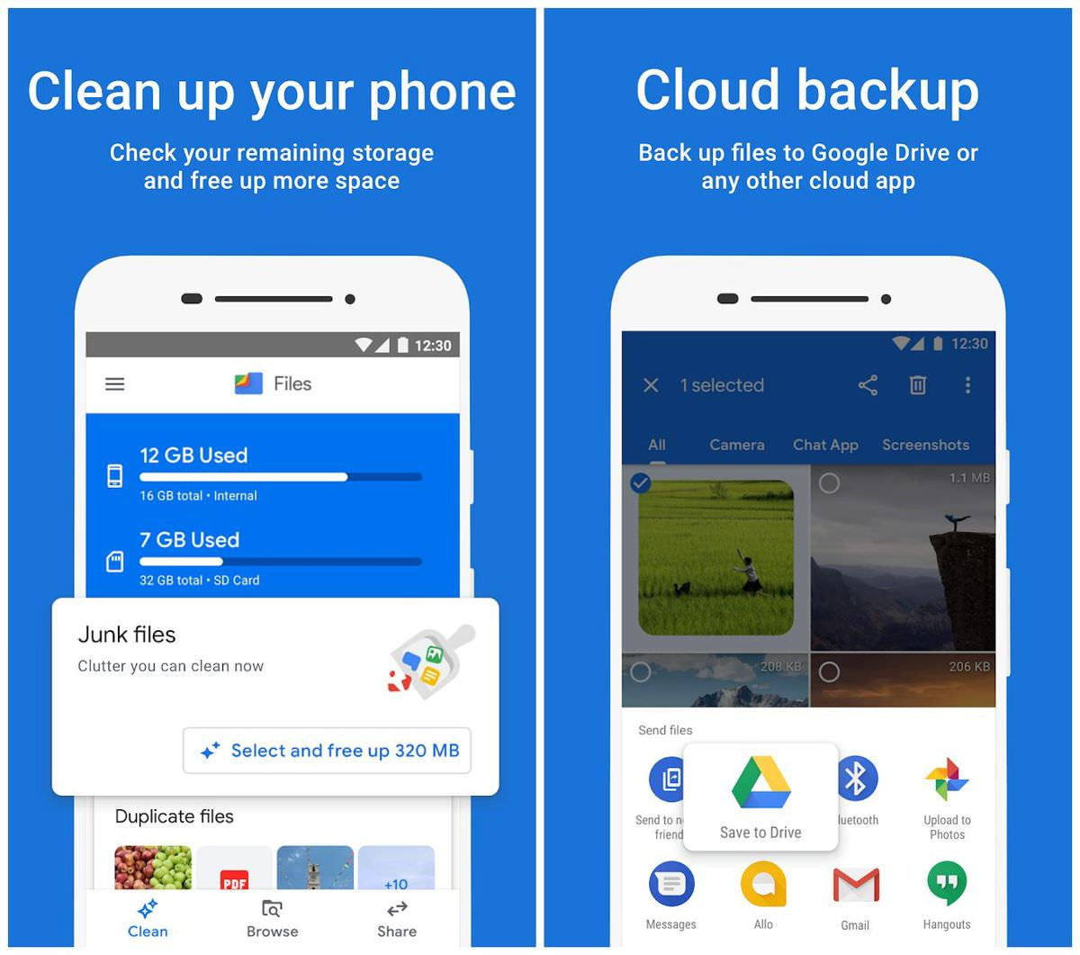 Clean the device's storage via Files by Google