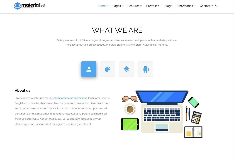 Materialize WordPress Theme