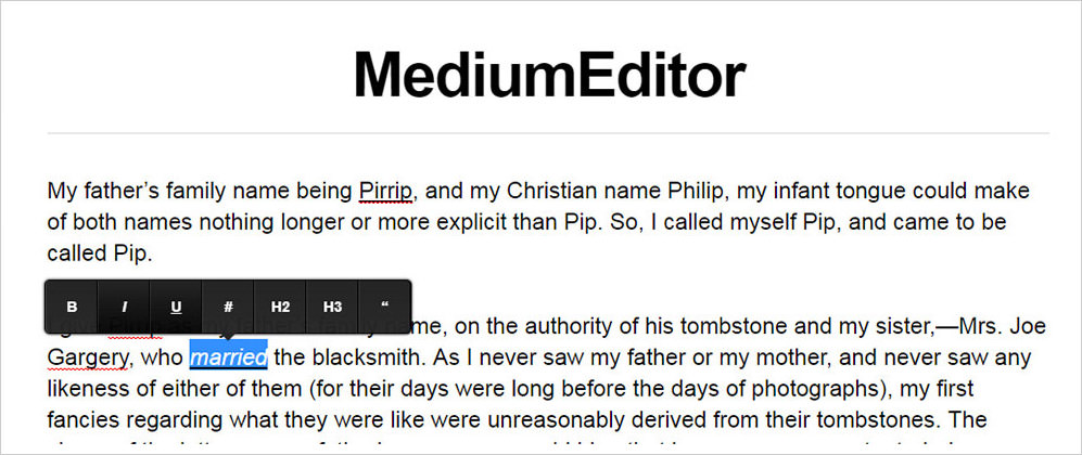 MediumEditor sample demo