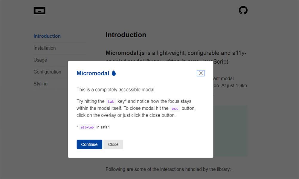 Модальный скрипт Micromodal.js