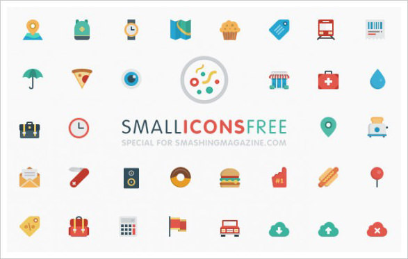 Mini flat icon set PSD
