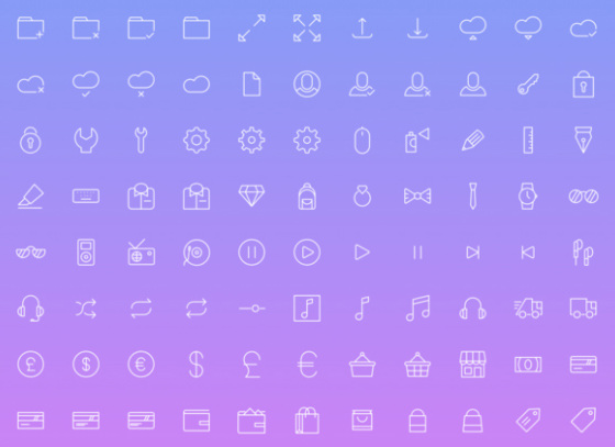 100 Simple Outline Icons