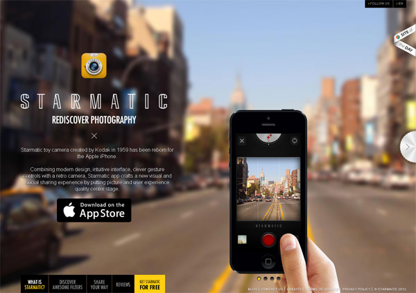 starmatic mobile app landing page