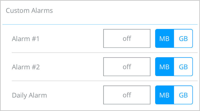 my data mgr custom alarm