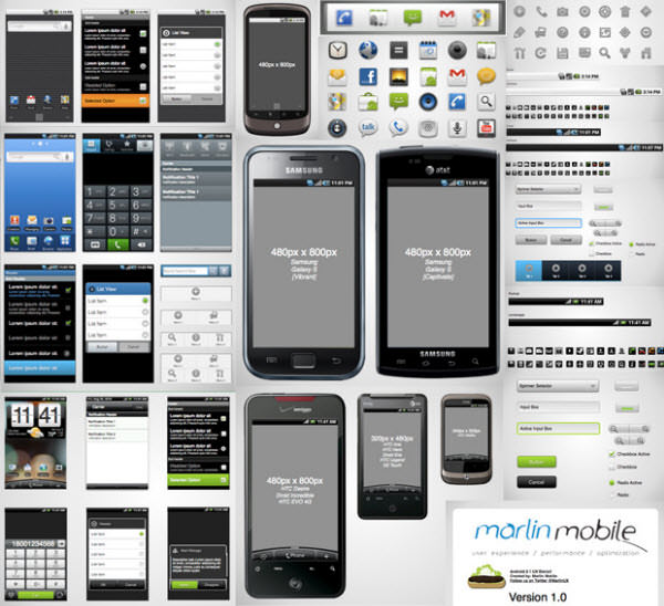 google android 2.1 wireframe stencil