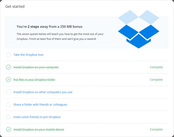 dropbox how to get more space free