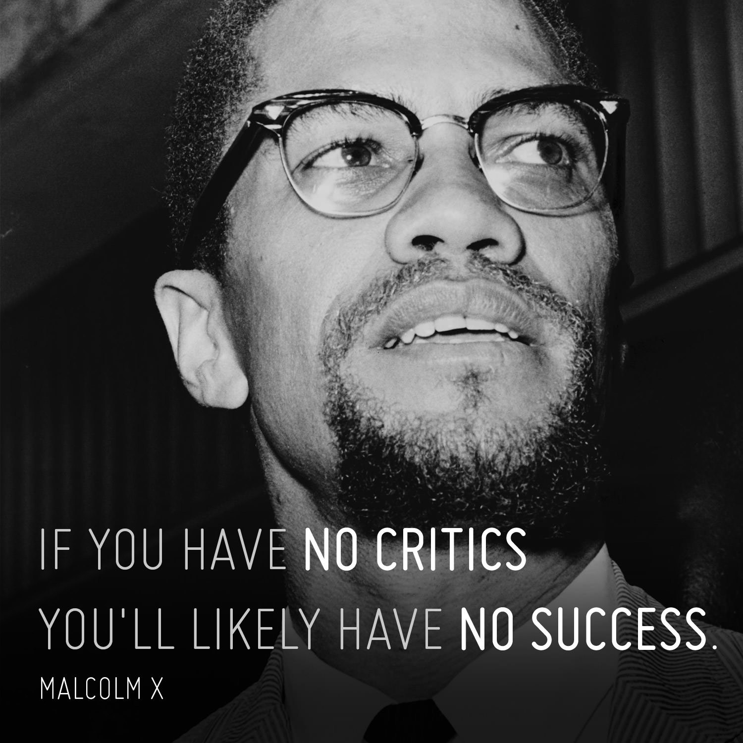 If you have no critics you'll likely have no success. - Malcolm X