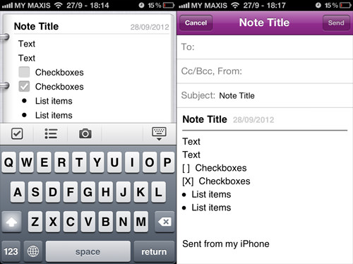 OneNote Mobile Email