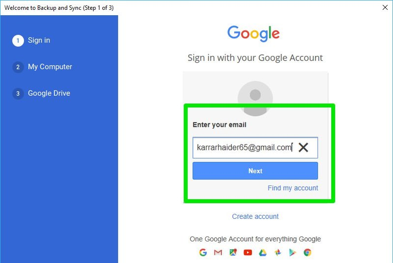 sign in using the secondary Google account
