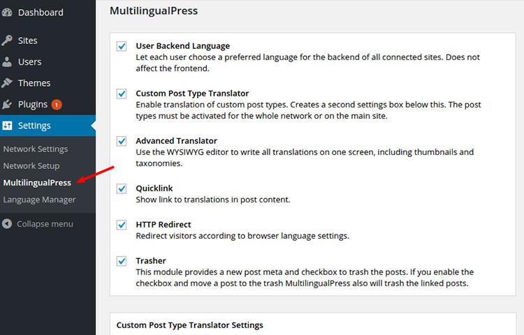 MultilingualPress setting page.