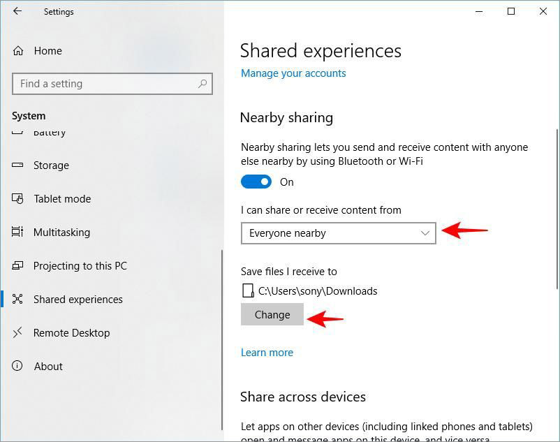 Configure Nearby sharing in Windows 10