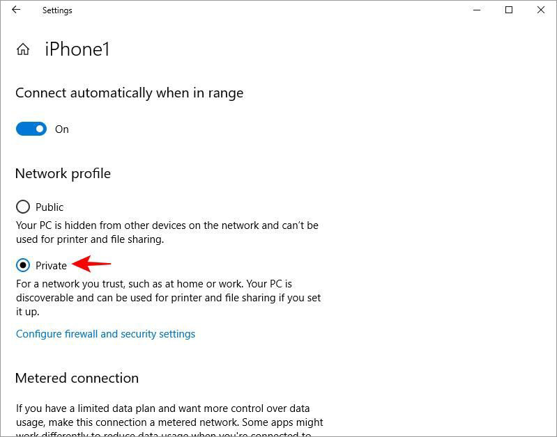 Set networking profile in Windows 10