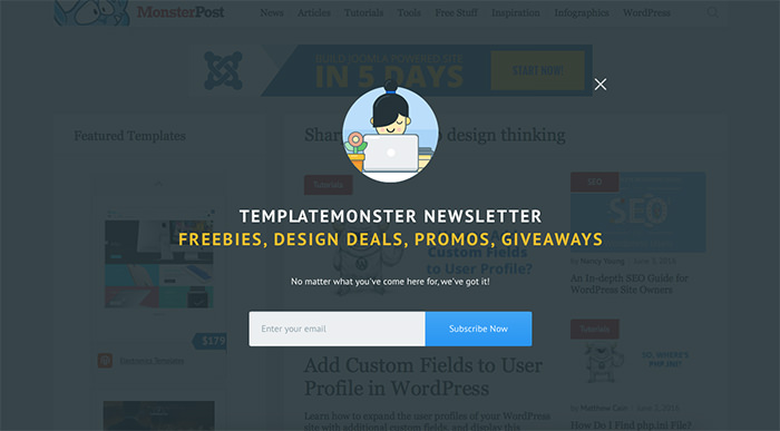 Newsletter Signup Forms [Freebies]  Email Signup Template