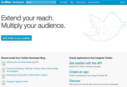 Twitter dev center - register a new app