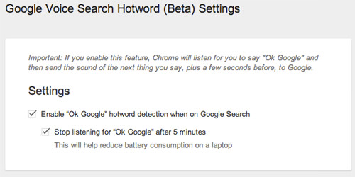 Google Voice Search Hotword Settings