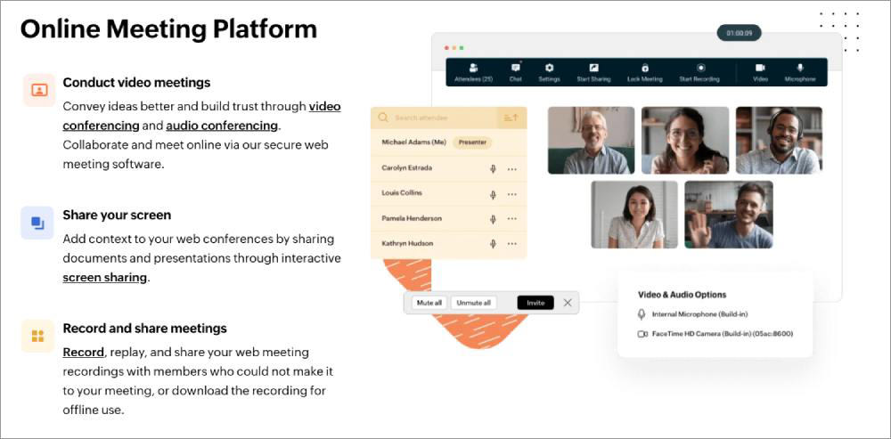 Online meeting and conferencing tools Zoho Meeting
