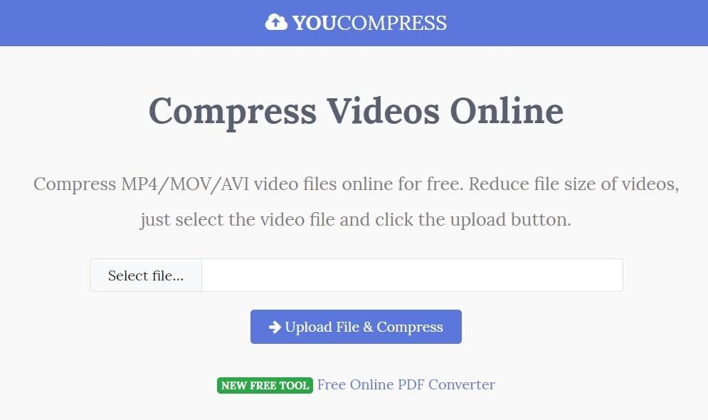 YouCompress is an online video compressor